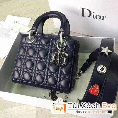 Túi Xách Dior Lady Siêu Cấp Màu Xanh Dương Đậm Dây Phụ Kiện