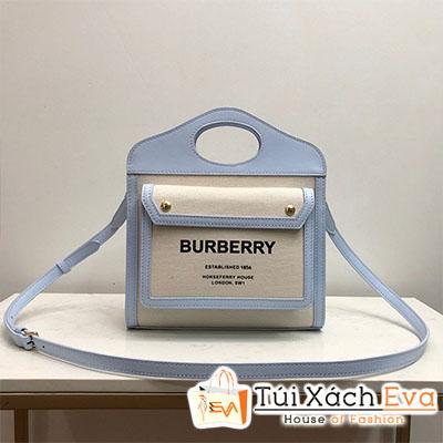 Túi Xách Burberry Horseferry Bag Siêu Cấp Màu Trắng Phối Xanh Đẹp M80324371.