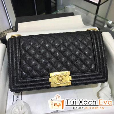 Túi Xách Chanel Boy Siêu Cấp Da Hạt Khóa Vàng Màu Đen