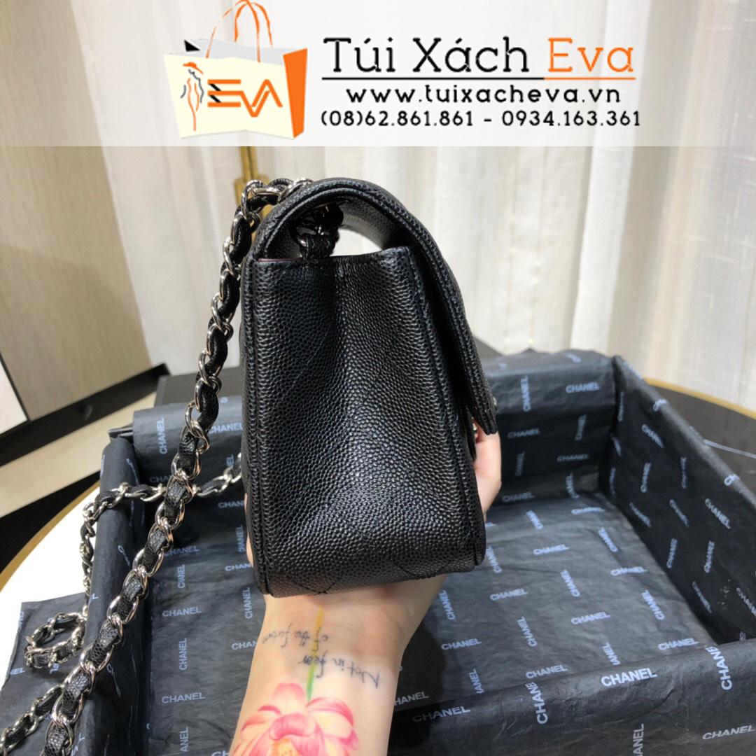 Túi Xách Chanel Siêu Classic  Siêu Cấp Da Hạt Size 20 Màu Đen