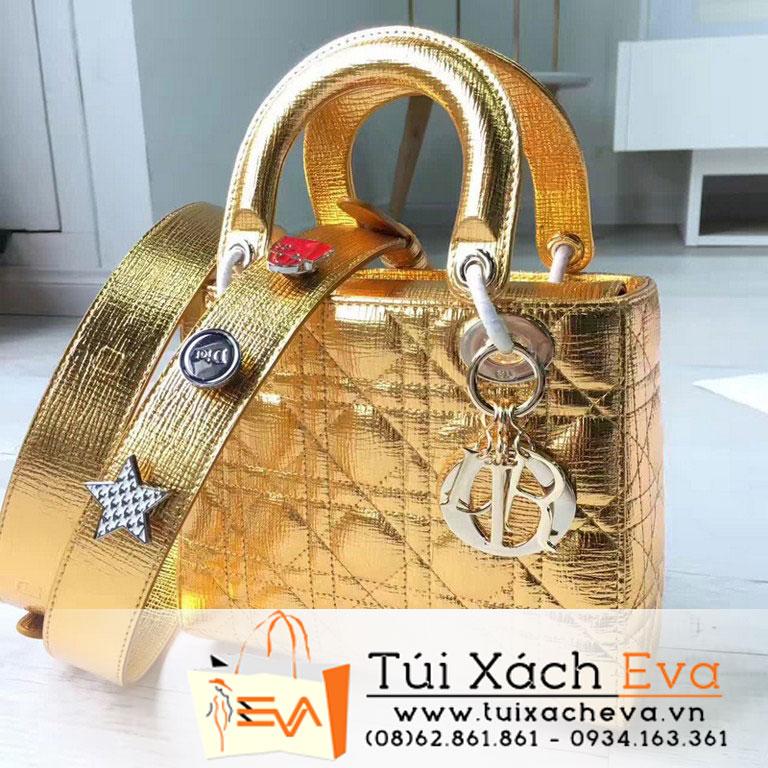 Túi Xách Dior Lady Siêu Cấp Màu Vàng Đồng Dây Phụ Kiện