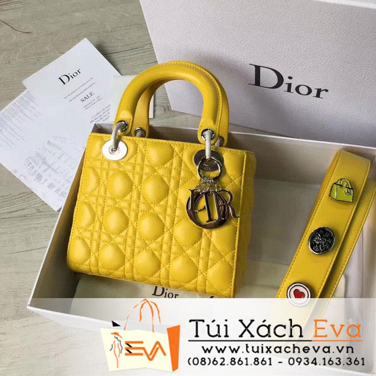 Túi Xách Dior Lady Siêu Cấp Màu Vàng Dây Phụ Kiện