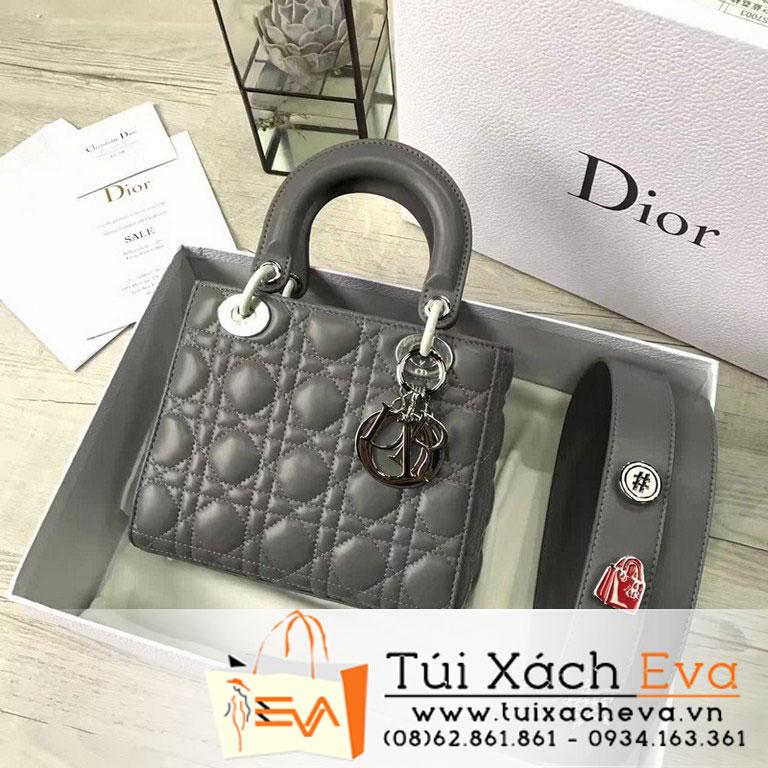 Túi Xách Dior Lady Siêu Cấp Màu Xám Đậm Dây Phụ Kiện