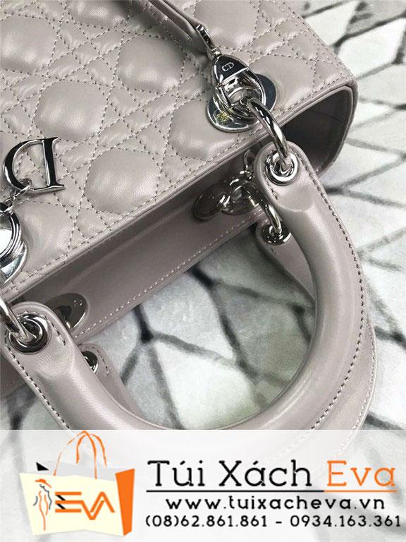 Túi Xách Dior Lady Siêu Cấp Màu Xám M44550