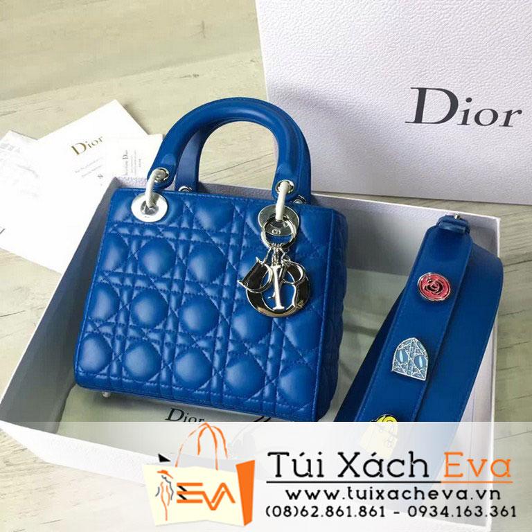 Túi Xách Dior Lady Siêu Cấp Màu Xanh Dương Dây Phụ Kiện