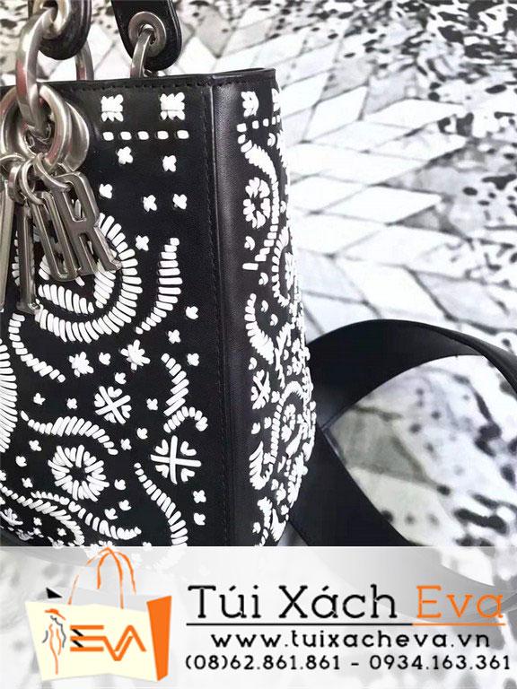 Túi Xách Dior Lady Siêu Cấp Thêu Hoa Màu Đen M0599