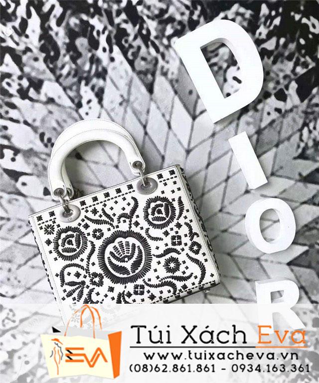 Túi Xách Dior Lady Siêu Cấp Thêu Hoa Màu Trắng M0599